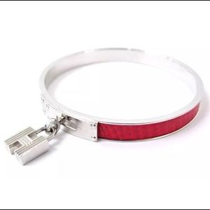 Hermes Jewelry - Auth. Hermes Kelly Red Lizard Silver Tone Bangle